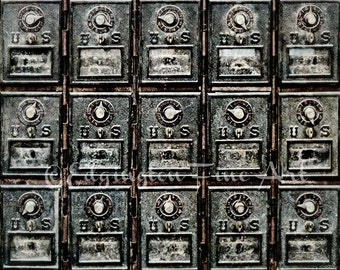 Antique mailboxes photo, rustic decor, mailbox photo, home decor, vintage decor, rustic, kitchen decor, office decor, black and white art