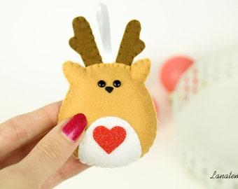 Reindeer christmas ornament felt, handmade Italy ornament, christmas tree, gift ideas couple, glitter red heart, cute gift girlfriend