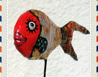 FISH red papier-mache sculpture