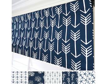 Navy Blue Valance.Blue Arrow Valance Curtain.Dark Blue Window Valance.Kitchen Valance.Blue Coral Window Treatment Valance.52x15