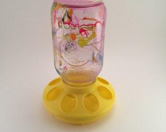 People Feeder Mason Jar Candy Dish Snack Dispenser  Yellow