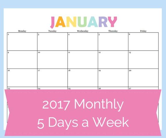 printable calendar 5 day calendar 5 day weekly planner