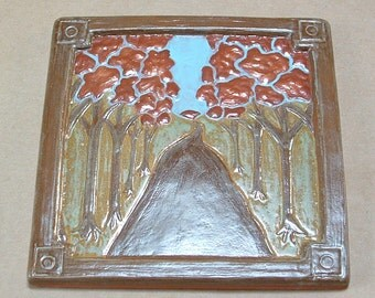 "Tree Lined Road Arts and Crafts Tile for fireplace or kitchen with multiple glazes. 6"" Craftsman/Mission/Bungalow/ Woodland Style"