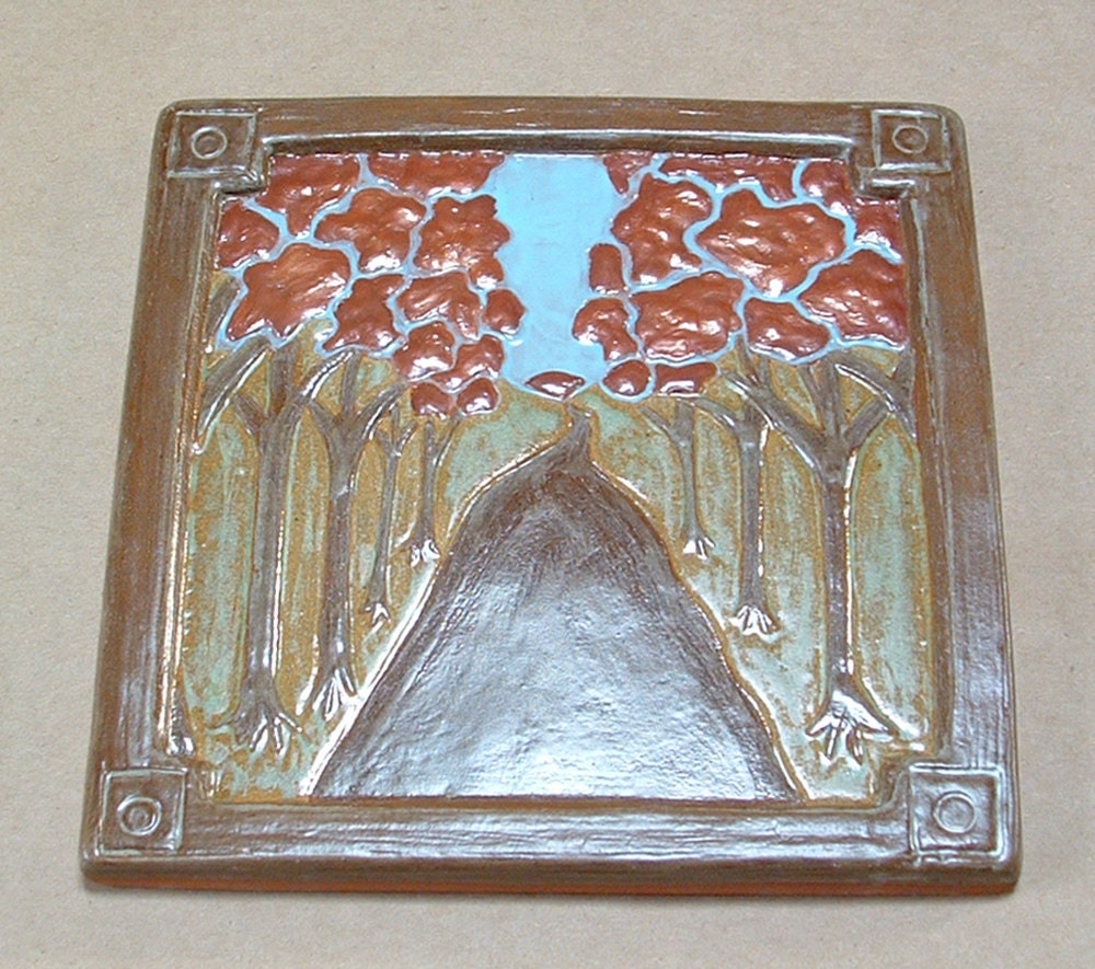 Tree lined road arts and crafts tile for fireplace or kitchen for Arts and crafts floor tile