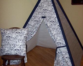 Woodland animal print, gray & white scribble stripe sides, Teepee, Kids play tent, Childs foldaway teepee, Wood poles