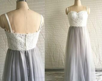 2017 Light Gray Bridesmaid Dress, Strapless Prom Dress, Spaghetti Strap Wedding Dress, Maxi Bridesmaid dress, Long Strapless Formal dress