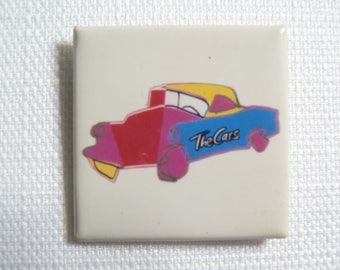 Vintage Early 80s The Cars Colorful Car Pin / Button / Badge
