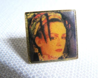 Vintage Early 1980s Culture Club - Boy George - Dome Style Photo Pin / Button / Badge