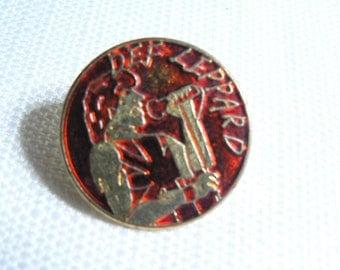 Vintage 80s Def Leppard - Joe Elliott Red Enamel Pin / Button / Badge