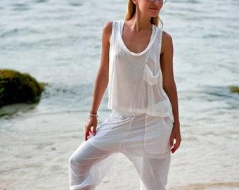 DZEN yoga set, Yoga tank top, Delicate cotton yoga pants Women yoga wear, White yoga comfy pants, Yoga gear outfit jumpsuit workout clothes