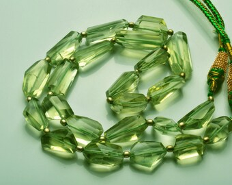 247.cts 17 Inch Natural Super  Green Amethyst Nuggets Beads  Necklace 14 TO 28 MM
