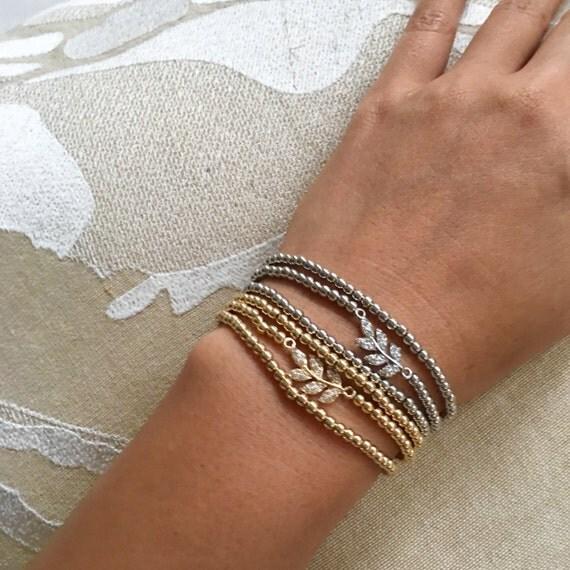 Darling Beaded Wrapped Leaf Bracelet in Silver