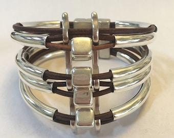 Silver Tube Woven Bracelet