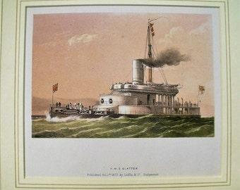 Antique Colour Lithographic Print HMS Glatton Victorian Ships Royal Navy (6156)