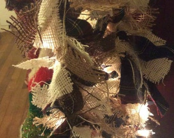 Light-Up Winter Holiday Tri-Color Plaid & Burlap Garland