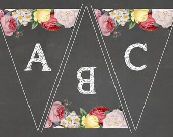 Floral Chalkboard Printable Bunting