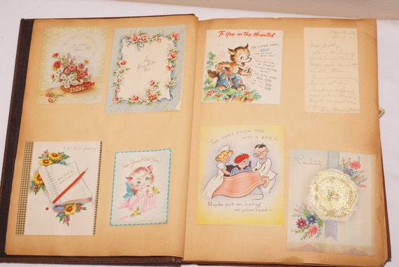 Vintage Scrapbook / 1940s Scrapbook / Paper Ephemera / Greeting Card Album - 133+ Cards / Get Well, Sympathy Cards, and Personal Letters