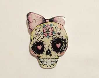 Pink Ribbon sugar skull rockability kitsch emo steampunk brooch pin