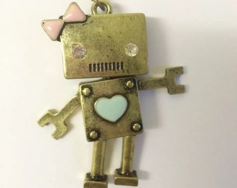 Cute girl ribbon heart robot moveable joint gadget quirky necklace