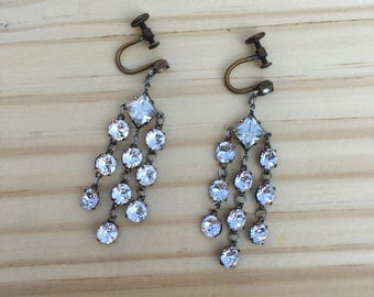 Art Deco Earrings: Clear Diamanté Screw Back Earrings