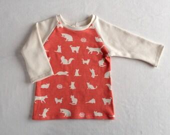 SALE! Organic Raglan Shirt - Cats in Coral - 3T - 4T - 5T