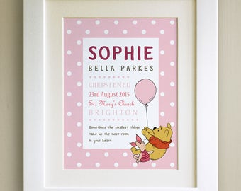 FRAMED Personalised Winnie the Pooh QUOTE PRINT, Christening, Nursery Picture Gift, Pooh Bear, Framed or just mounted, Choice of 3 frames
