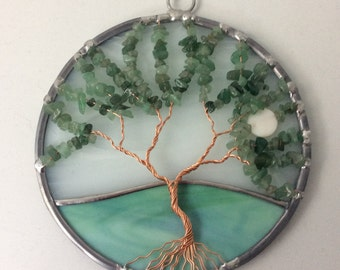 Aventurine gemstone tree of life suncatcher