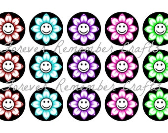 INSTANT DOWNLOAD Flower Smiley Face  1 Inch Bottle Cap Image Sheets *Digital Image* 4x6 Sheet With 15 Images