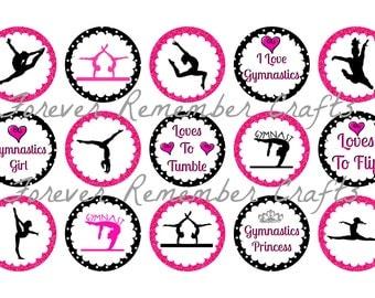 INSTANT DOWNLOAD Gymnastics 1 Inch Bottle Cap Image Sheets *Digital Image* 4x6 Sheet With 15 Images