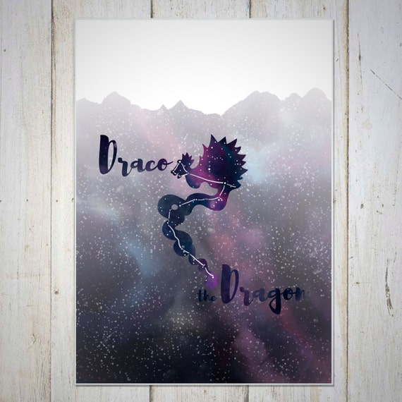Dragon Wall Decor Art Prints, Constellation Wall Decor Art Prints, Birthday Gift, Star Wall Decor, Dragon Constellation, Draco, Milky Way