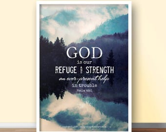 NEW Psalm 46:1 A4 Christian Poster - Glossy