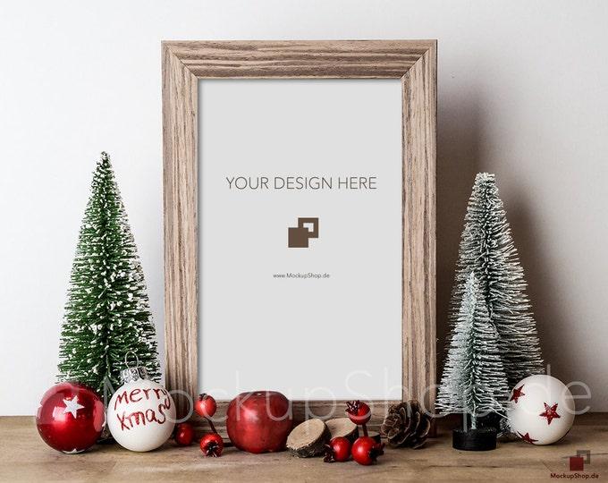 FRAME MOCKUP CHRISTMAS shabby brown / Frame Mockup Christmas vintage / Merry Christmas Mockup / Merry Xmas Frame Mockup / Santa Claus Mockup