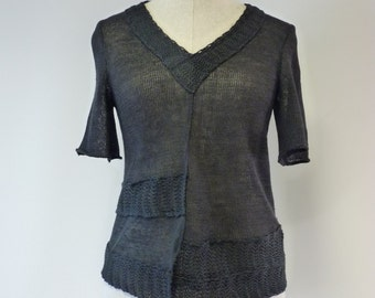 Knitted black linen blouse, M size. Only one sample.