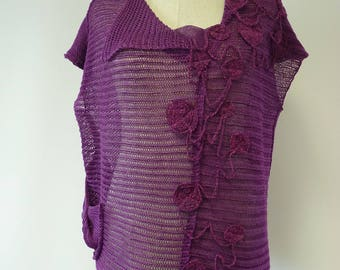 Boho Summer purple linen blouse, L size. Only one sample.