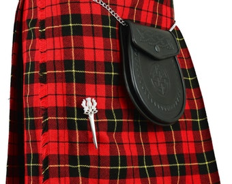 New Mens Wallace Red Modern Highland WALLACE Scottish Kilt