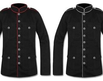 Mens MILITARY OFFICER JACKET Black-Red/Black-White Gothic Steampunk