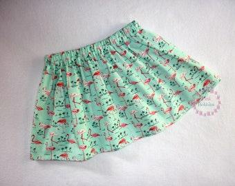 Flamingo skirt - green skirt - girly flamingos - toddler girl's/baby girls flamingo outfit - girls summer clothes/clothing *0-6 years*