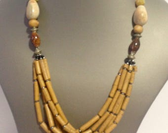 African ceramic Brown necklace