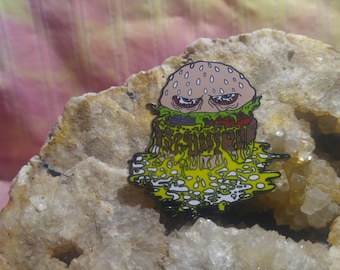 Slappy Patties hamburger food sesame seed pickle onion tomato lettuce cheese cheesy hard enamel limited edition rare artist series hat pin