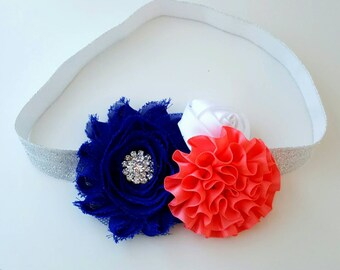 Royal Blue and Coral Headband - Royal Blue and Silver Headband - Sparkly Bows - Flower Girl Headband - Coral Baby Headband - Fancy Headband