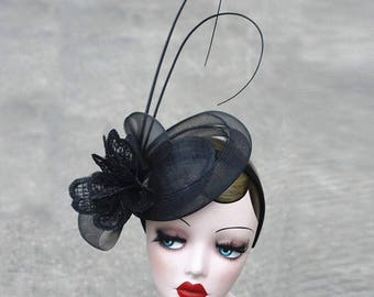 Black sinamay hat fascinstors party hat classic 1950s fascinators look black headband feather fascinators