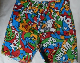 70's comic book character youth shorts