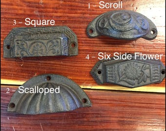 Cast Iron drawer pull - Antique style