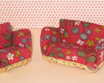 Vintage LUNDBY Dollhouse Upholstered Sofa and Chair - Red Floral Pattern