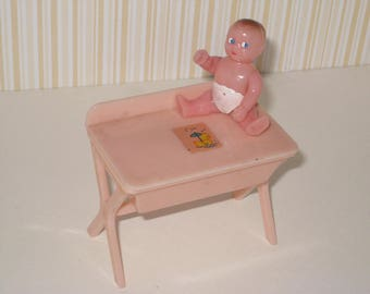 1950s Renwal Hard Plastic Dollhouse Pink Baby Changing Table (Bathinette) and Baby Doll