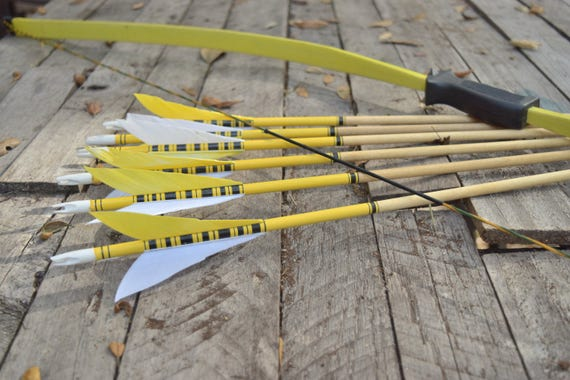 Archery Bow, Lil Sioux fiberglass bow and 6 handmade arrows