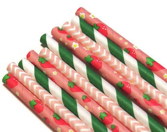 strawberry straws, berry first birthday party decorations, 10CT, summer fruit, babys first, 1st, girls, pink, red, green, chevrons