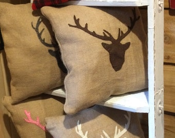 Deer Burlap Pillows- Burlap Pillows, Felt Pillows, Rustic Decor, Man Cave Pillows, Flannel Pillows, Decorative Pillows