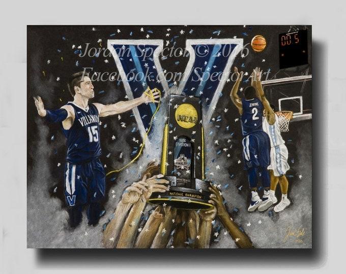 Villanova Basketball - 2016 National Champion - Vilanova Wildcats - Canvast - Nova Nation - Villanova Wall Art - Villanova Dorm Decor
