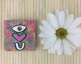 i love you. eye heart you. mothers day. magnets. handmade. moms day. love. hand painted. mothers day gifts. one of a kind. neon colors. love
